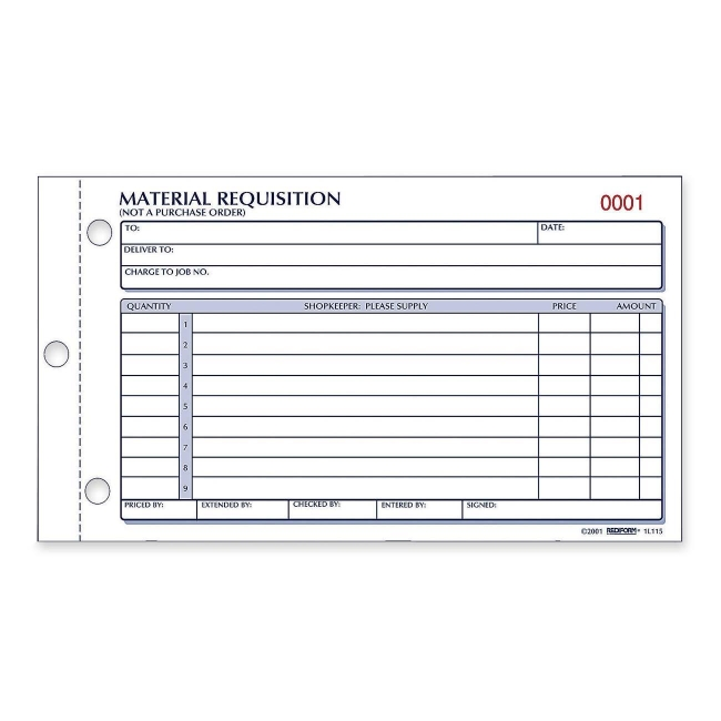 Rediform Material Requisition Purchasing Form L RedL