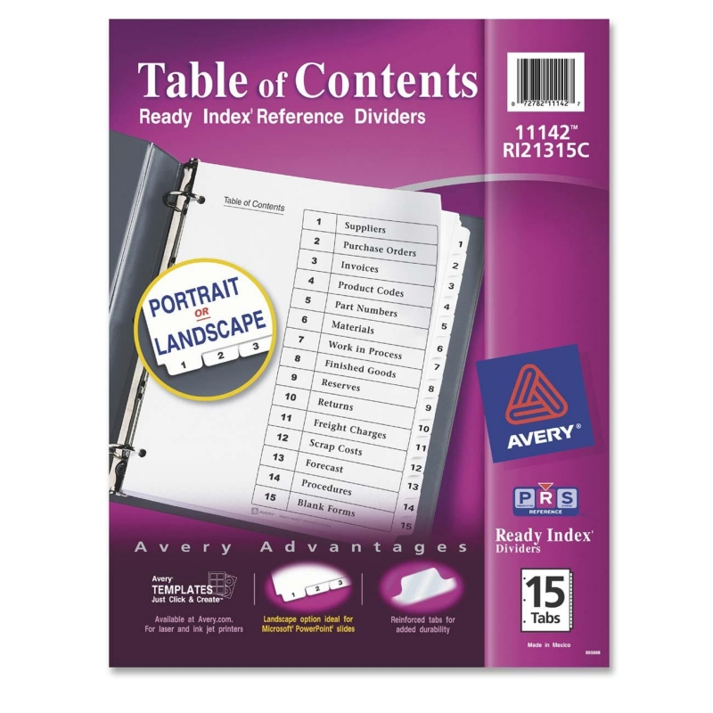 Classic Ready Index Table of Contents Divider Avery Dennison 11142 AVE11142