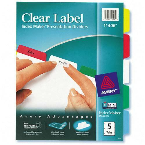 Index Maker Label Divider with Color Tabs Avery Dennison 11406 AVE11406