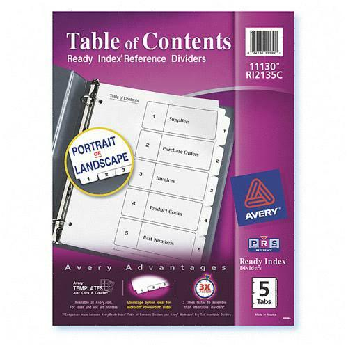 Classic Ready Index Table of Contents Divider Avery Dennison 11130 AVE11130