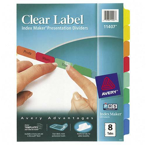 Index Maker White Divider with Color Tabs Avery Dennison 11407 AVE11407