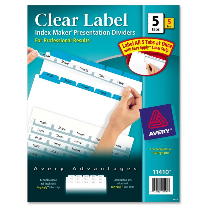 Index Maker Clear Label Divider with Color Tabs Avery Dennison 11410 AVE11410