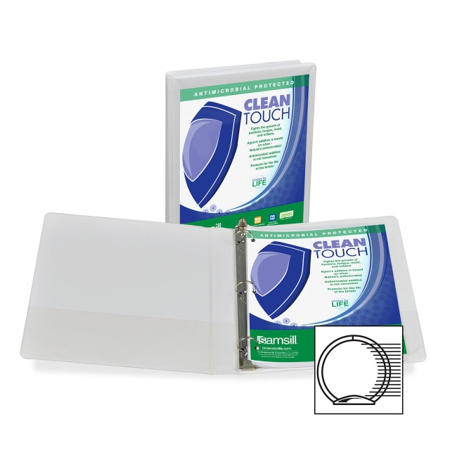 Samsill Antimicrobial Insertable Round Ring Binder 18237 SAM18237