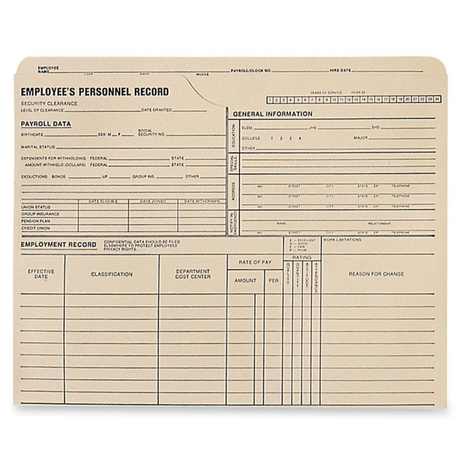 Quality Park Employee's Personnel Record Jacket 69999 QUA69999