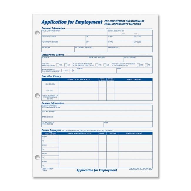 Employment Application Form Template Free Image Information