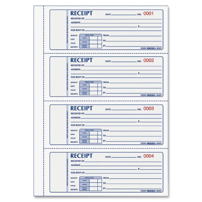 Rent Receipt Book Rediform 8L807 RED8L807