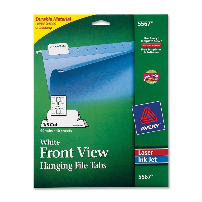 hanging file tab avery dennison 5567 ave5567 hanging file tabs are