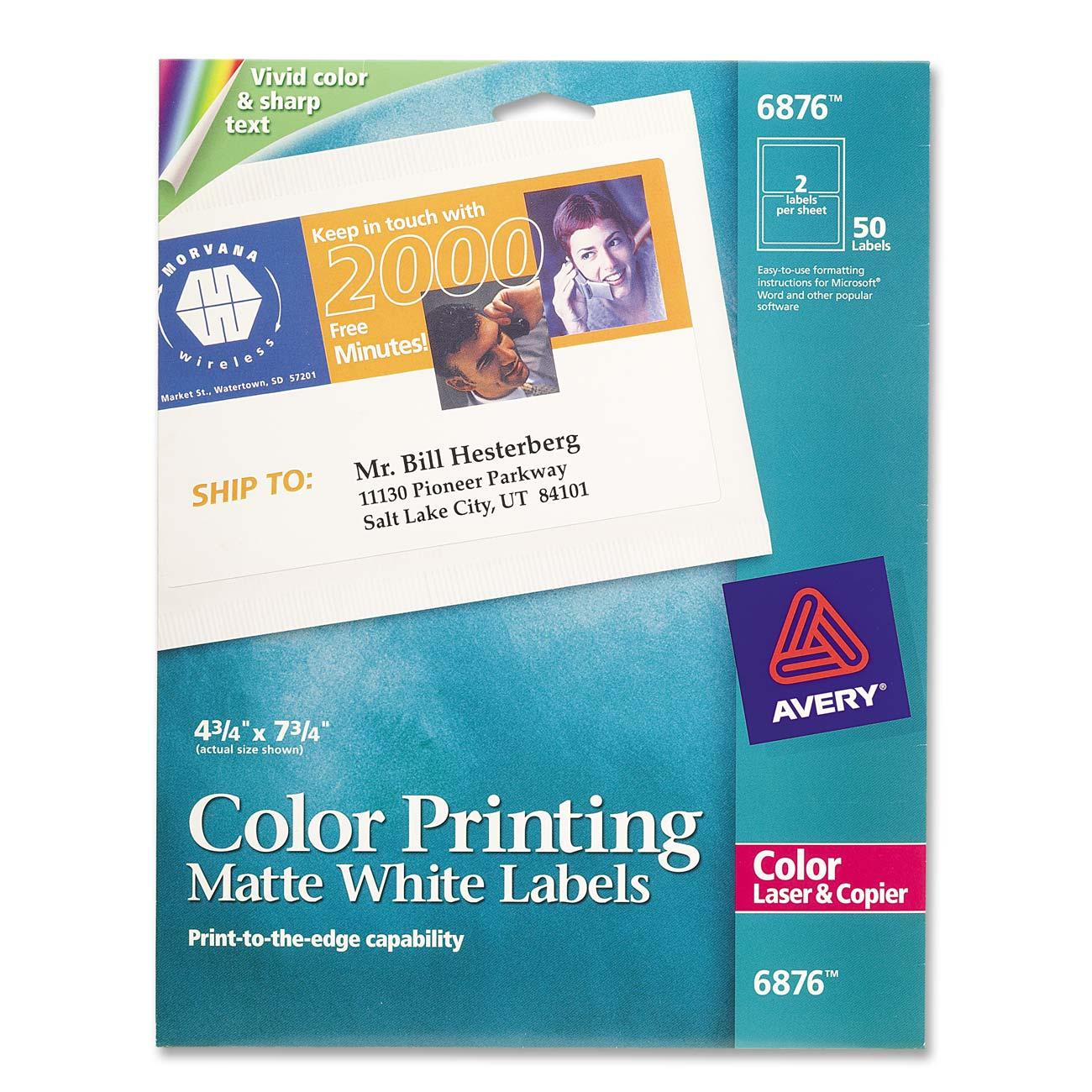 avery dennison label templates - color laser label avery dennison 6876 ave6876 labels