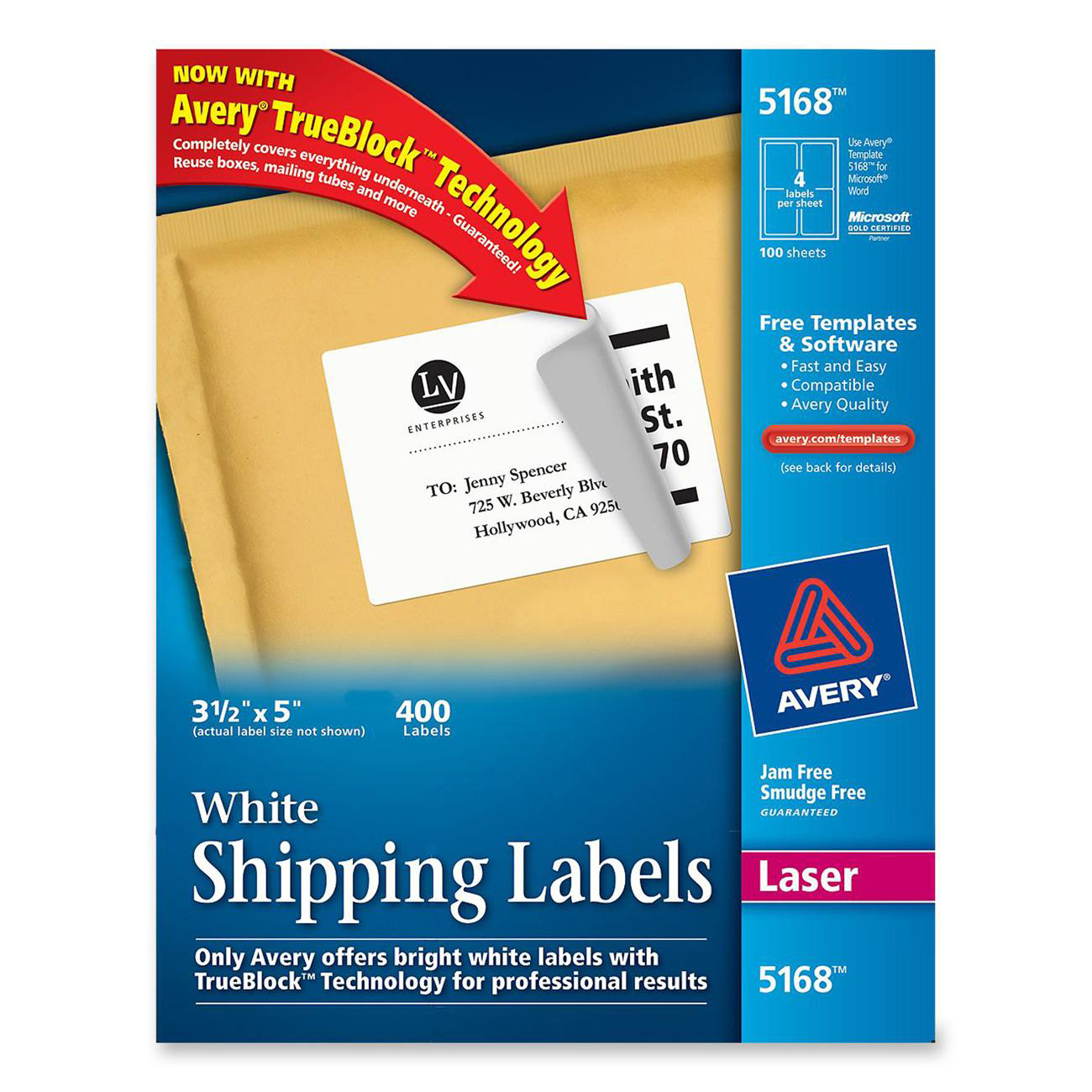 Printer for Avery 5168 label template