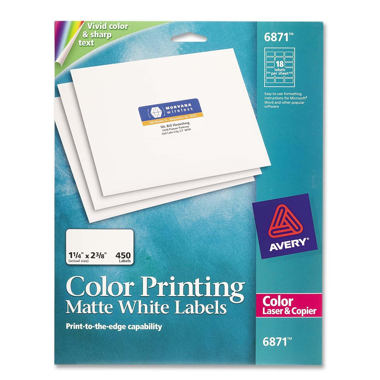 Color printing label avery dennison 6871 ave6871 labels for Avery dennison label templates