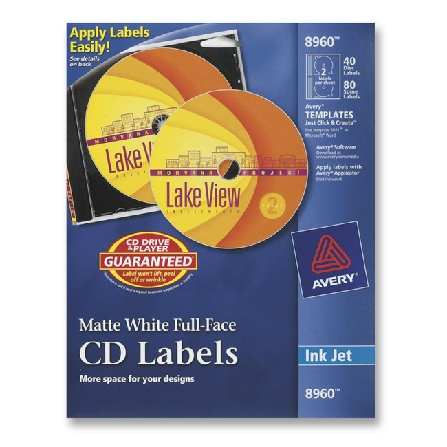 Full Face CD Labels Avery Dennison 8960 AVE8960 Labels
