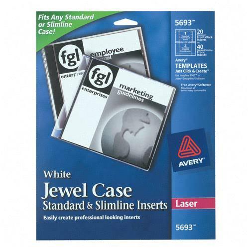 Printing Cd Case Insert: Laser CD Jewel Case Insert Avery Dennison 5693 AVE5693