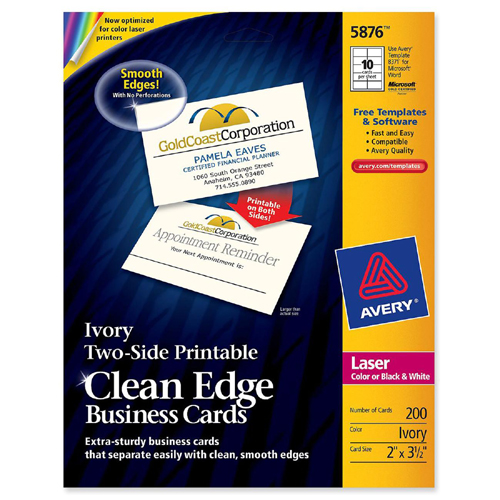 Geographics blank business card 39051 geo39051 avery clean edge laser business card 5876 ave5876 reheart Image collections