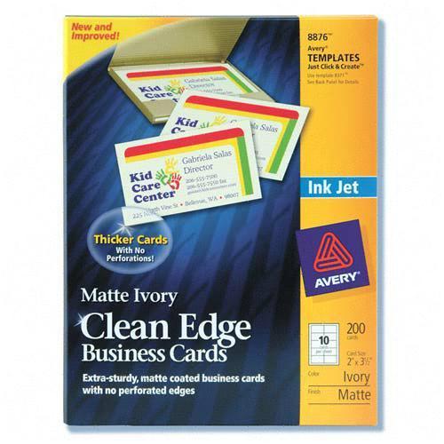 clean edge inkjet business card avery dennison 8876 ave8876. Black Bedroom Furniture Sets. Home Design Ideas