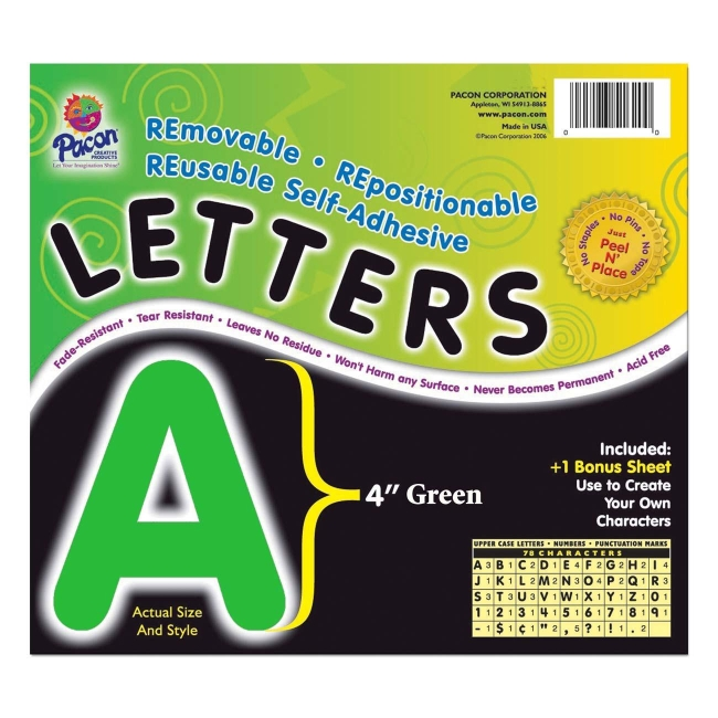 Self adhesive removable letters pacon 51624 pac51624 vinyl for Self adhesive letters for walls