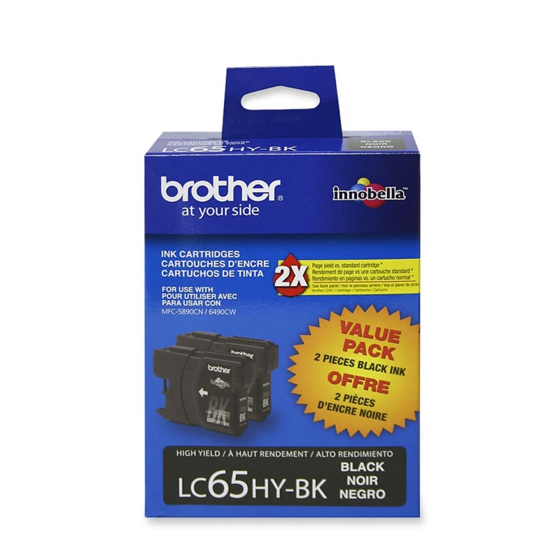 Brother High Yield Black Ink Cartridge For MFC5890cn and MFC6490cw Printers LC652PKS BRTLC652PKS