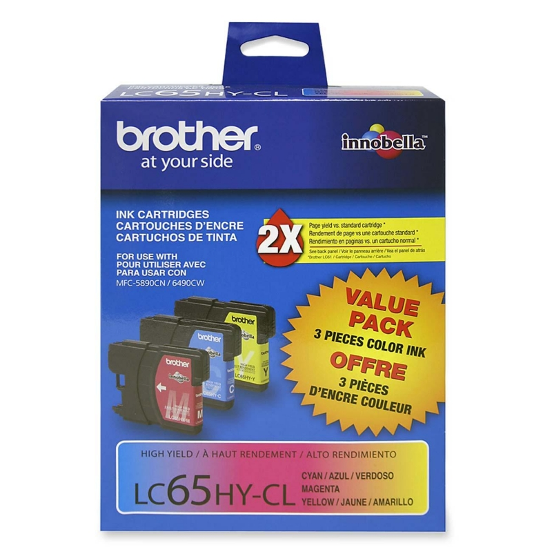 Brother Tri-color Ink Cartridge For MFC5890cn and MFC6490cw Printers LC653PKS BRTLC653PKS