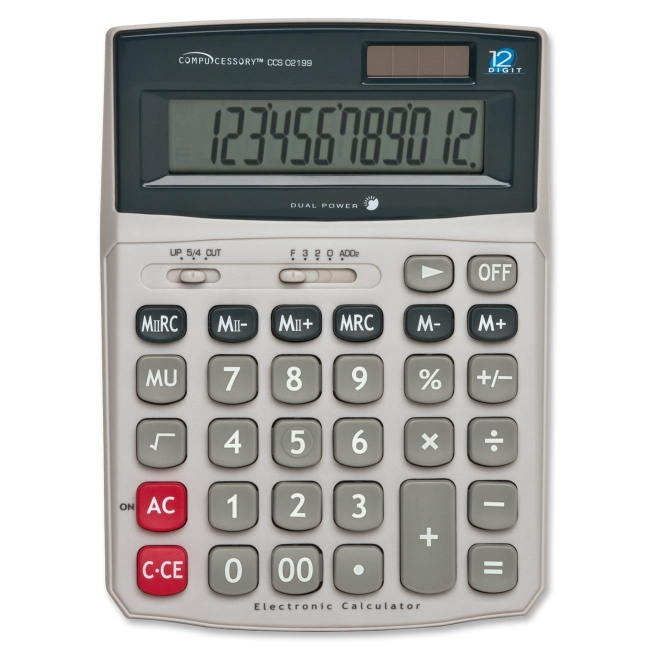 Dual Power Desktop Calculator Compucessory 02199 CCS02199 ...