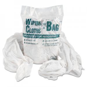 Genpak Bag-A-Rags Reusable Wiping Cloths, Cotton, White, 1lb Pack UFSN250CW01