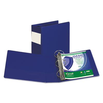"Samsill Clean Touch Locking Round Ring Reference Binder, Antimicrobial, 4"" Cap, Blue SAM14392 14392"