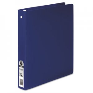 "ACCO HIDE Poly Round Ring Binder, 35-pt. Cover, 1"" Cap, Dark Blue ACC39712 A7039712A"