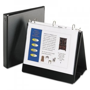 "Avery Easel Presentation Durable Binder, 1"" Round Rings, Holds 11 x 8 1/2 Paper, Black AVE12880 12880"