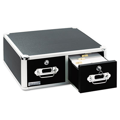 Vaultz Locking 6 x 4 Two-Drawer Index Card Box, 3000-Card Capacity, Black IDEVZ01395 VZ01395