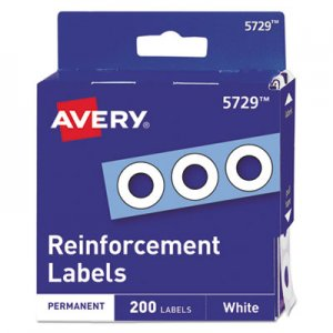 "Avery Dispenser Pack Hole Reinforcements, 1/4"" Dia, White, 200/Pack AVE05729 05729"