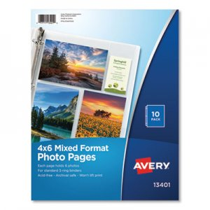 Avery Photo Storage Pages for Six 4 x 6 Mixed Format Photos, 3-Hole Punched, 10/Pack AVE13401 13401
