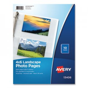 Avery Photo Storage Pages for Four 4 x 6 Horizontal Photos, 3-Hole Punched, 10/Pack AVE13406 13406