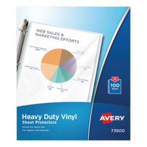 Avery Top-Load Vinyl Sheet Protectors, Heavy Gauge, Letter, Clear, 100/Box AVE73900 73900