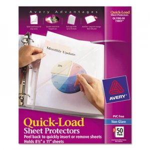 Avery Quick Top & Side Loading Sheet Protectors, Letter, Non-Glare, 50/Box AVE73803 73803