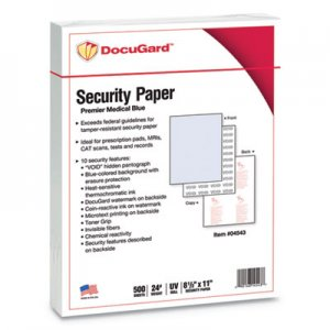 DocuGard Security Paper, 8-1/2 x 11, Blue, 500/Ream PRB04543 04543