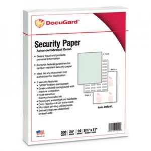 DocuGard Security Paper, 8-1/2 x 11, Green, 500/Ream PRB04542 04542
