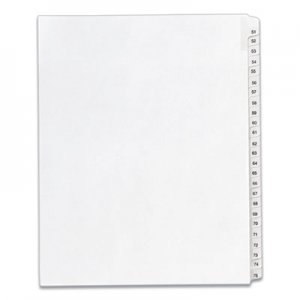 Avery Allstate-Style Legal Exhibit Side Tab Dividers, 25-Tab, 51-75, Letter, White AVE01703 01703