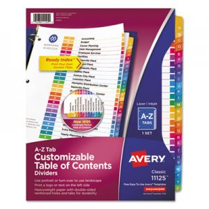 Avery Ready Index Customizable Table of Contents Multicolor Dividers, 26-Tab, Letter AVE11125 11125