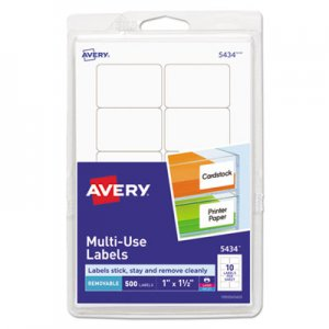 Avery Removable Multi-Use Labels, 1 x 1 1/2, White, 500/Pack AVE05434 05434