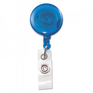 "Advantus Translucent Retractable ID Card Reel, 34"" Extension, Blue, 12/Pack AVT75472 75472"