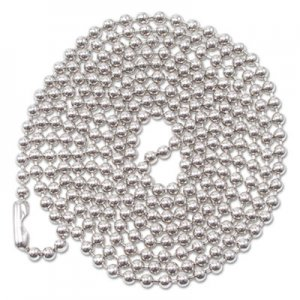 "Advantus ID Badge Holder Chain, Ball Chain Style, 36"" Long, Nickel Plated, 100/Box AVT75417 75417"