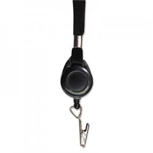 "Advantus Lanyards with Retractable ID Reels, Clip Style, 34"" Long, Black, 12/Carton AVT75549 75549"