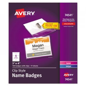 Avery Clip-Style Name Badge Holders w/Inserts, Top Load, 3 x 4, White, 100/Box AVE74541 74541