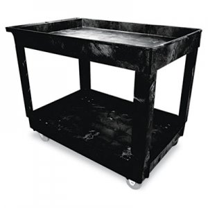 Rubbermaid Commercial Service/Utility Cart, Two-Shelf, 24w x 40d x 31-1/4h, Black RCP9T6700BLA FG9T6700BLA