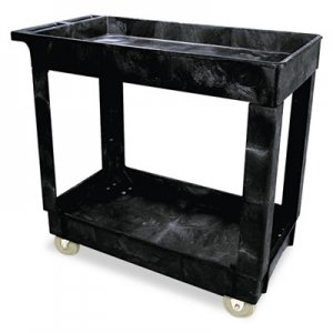 Rubbermaid Commercial Service/Utility Cart, Two-Shelf, 40 1/4w x 25 5/8d x 32 1/2h, Black RCP9T6600BLA