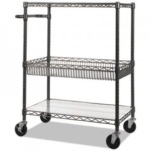 Alera Three-Tier Wire Rolling Cart, 34w x 18d x 40h, Black Anthracite ALESW543018BA