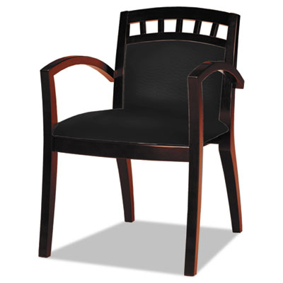 Mayline Mercado Series Arch-Back Wood Guest Chair, Mahogany/Black Leather MLNVSC5ABMAH VSC5ABMAH