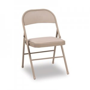 Alera Steel Folding Chair with Two-Brace Support, Padded Seat, Tan, 4/Carton ALEFC94VY50T