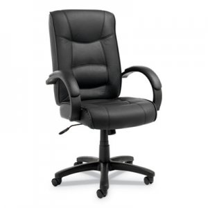 Alera Strada Series High-Back Swivel/Tilt Chair, Black Top-Grain Leather ALESR41LS10B