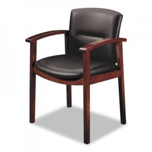HON 5000 Series Park Avenue Collection Guest Chair, Black Leather/Mahogany Finish HON5003NSS11 5003NSS11