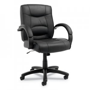 Alera Strada Series Mid-Back Swivel/Tilt Chair w/Black Top-Grain Leather ALESR42LS10B
