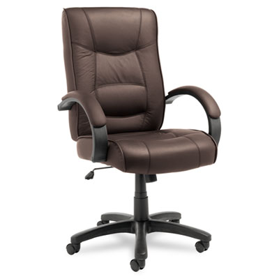 Alera Strada Series High-Back Swivel/Tilt Chair, Brown Top-Grain Leather ALESR41LS50B